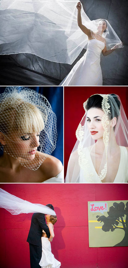 classic veils, matilla veils and cage veils for the bride