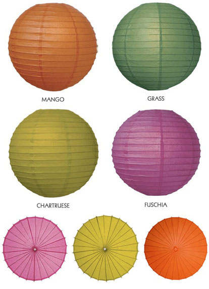 colorful paper lanterns and umbrellas from IdealFavors.com
