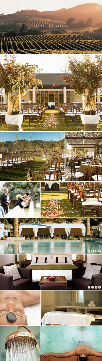 Solage, Calistoga California wine country wedding ceremony and wedding reception venue, hotel and spa