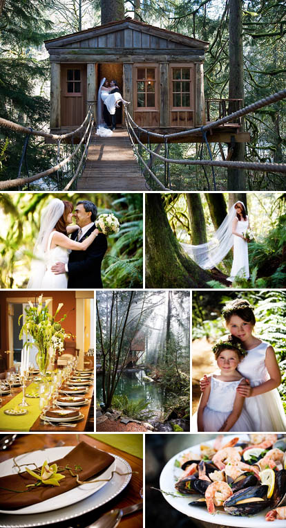 Treehouse Point wedding ceremony and reception location for an eco-friendly, elegantly rustic wedding
