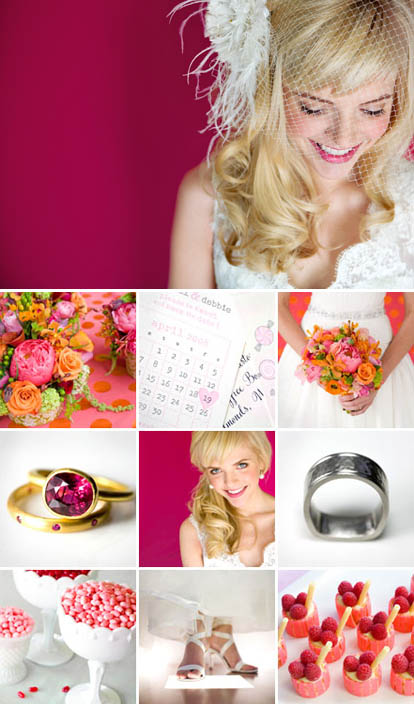 Junebug Weddings pink playful wedding style, pink wedding color palette