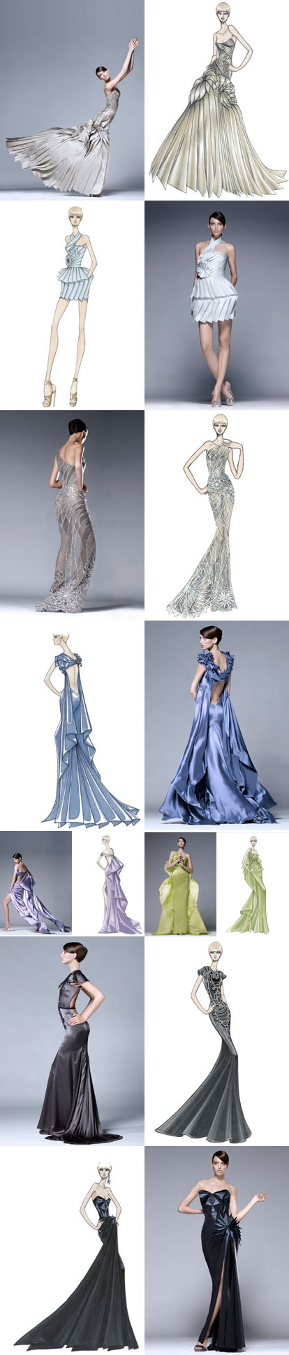 Altlier Versace couture dresses and design sketches by Donatella Versace