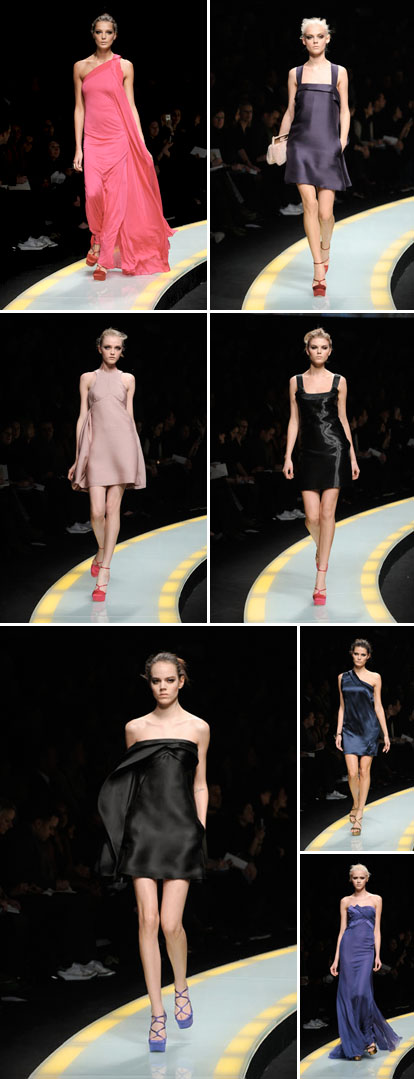 Versace fall 08 ready to wear collection, colorful shoes and dresses for weddings