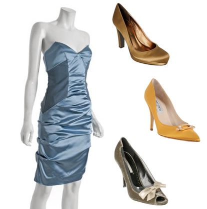 light blue, yellow and green bridesmaids dresses and shoes