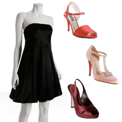 black, red and pink bridesmaids dresses and shoes
