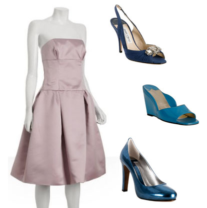 pink, blue and navy bridesmaids dresses and shoes