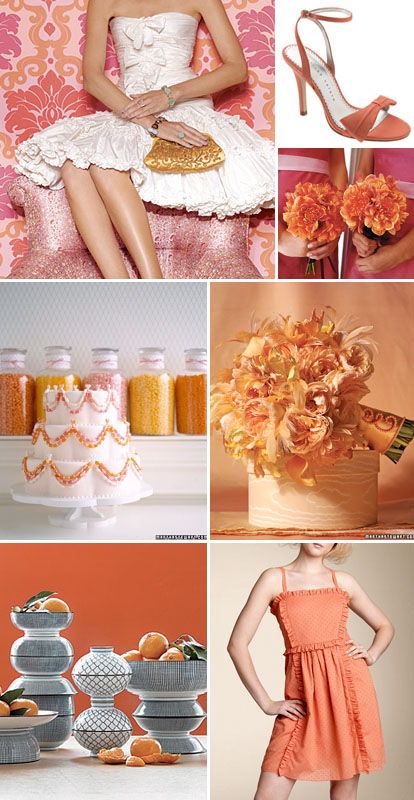orange, pink and red spring, summer or fall wedding color palette