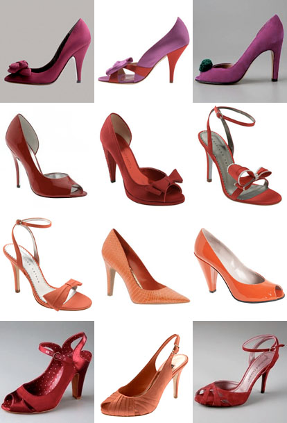 red, orange and pink summer or fall wedding shoes
