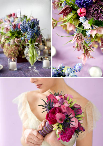 lavender summer wedding table setting, floral arrangements and bridal bouquet