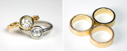 alternative diamond, platinum and gold wedding rings from Jamie Joseph and Me and Ro
