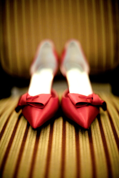 Red wedding shoes, image by GH Kim Photography