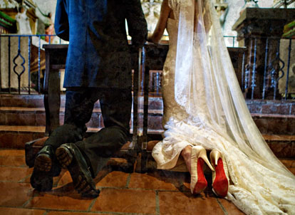 Christian Louboutin wedding ceremony shoes, image by Joy Marie Photography