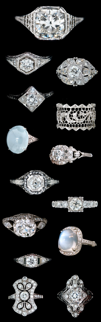 Antique diamond engagement and wedding rings from Alexandria Rossoff Jewels and Rare Finds
