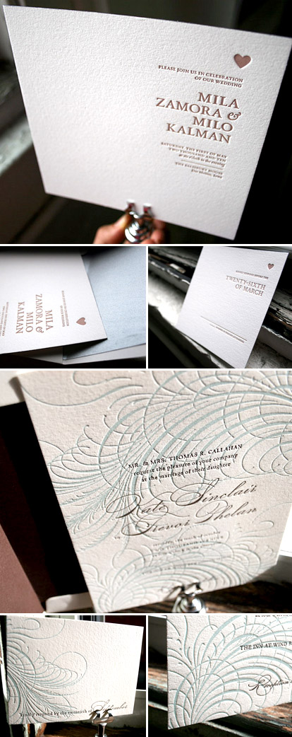eco-friendly letterpress wedding invitation sample sale from Bella Figura, benefitting American Forests