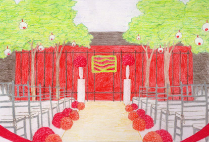 modern wedding ceremony design sketch by Bella Signature Design, Seattle wedding florals and decor
