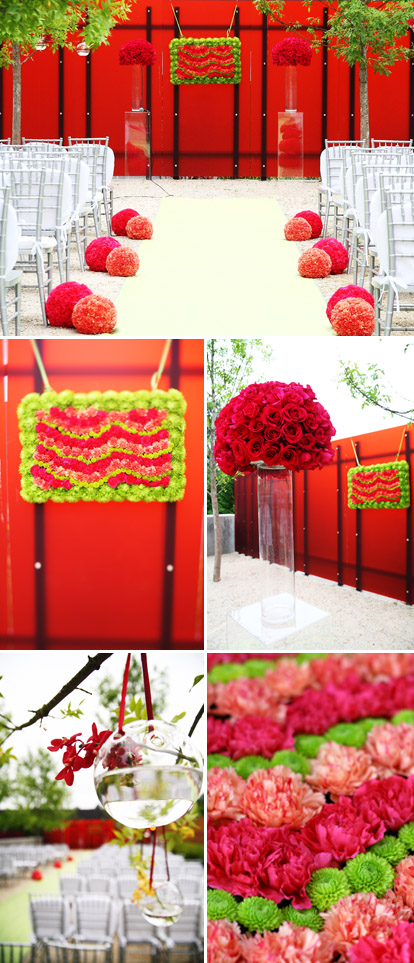 modern red, pink and green wedding ceremony design by Bella Signature Design, images by Bella Signature and Life Mosaics Photography