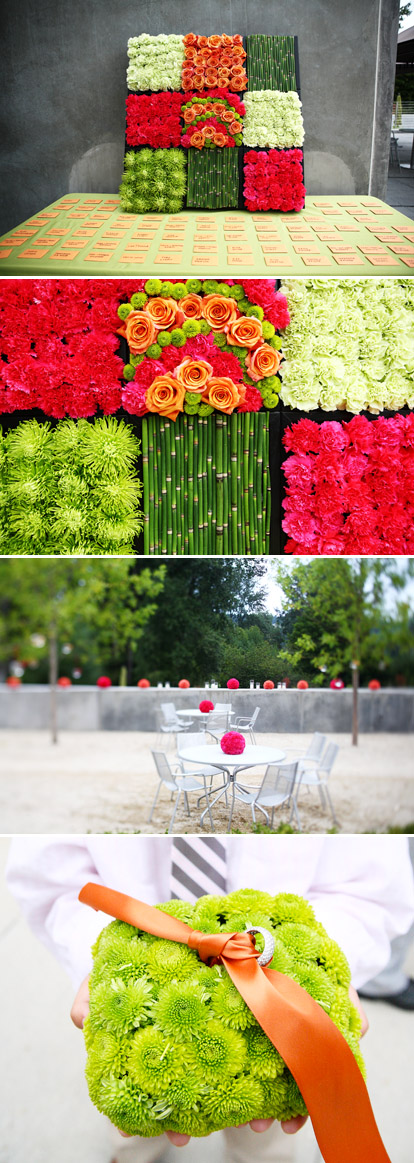 modern red, pink and green wedding decor by Bella Signature Design, images by Bella Signature and Life Mosaics Photography