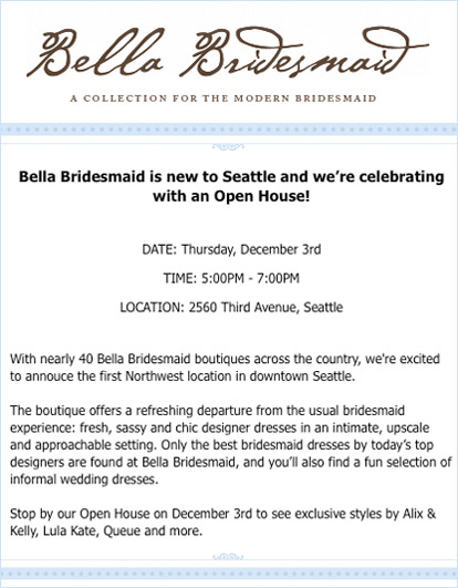 Seattle bridesmaid's dress and accessories boutique, Bella Bridesmaid