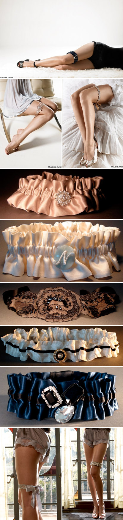 Vintage inspired bridal garters from Bleu Garters