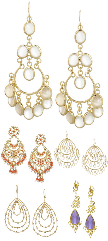Gold, coral and moonstone chandelier earrings for the bride, alternative wedding accessories, earrings from Isharya at Net-a-Porter.com