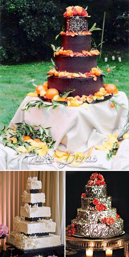 Wedding cakes by The Cake Divas, Images via The Cake Divas and the Cake Lava blog