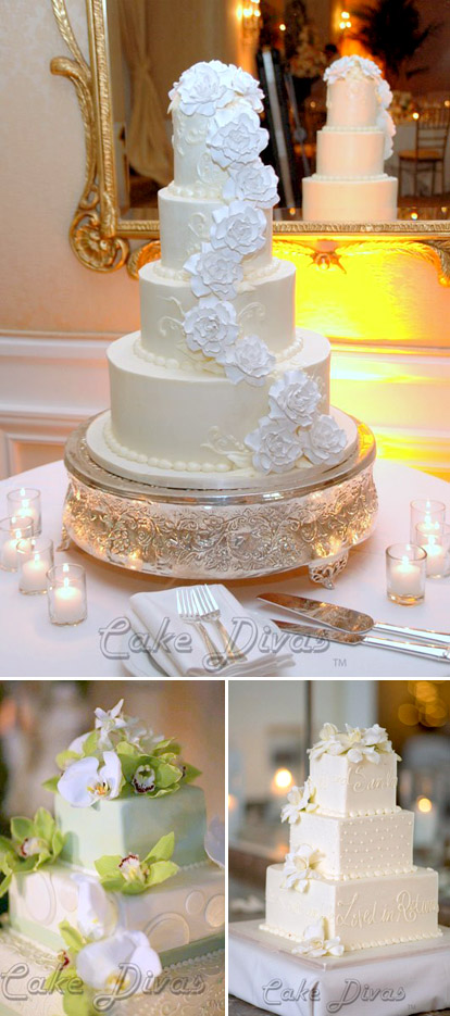 White floral wedding cakes by The Cake Divas