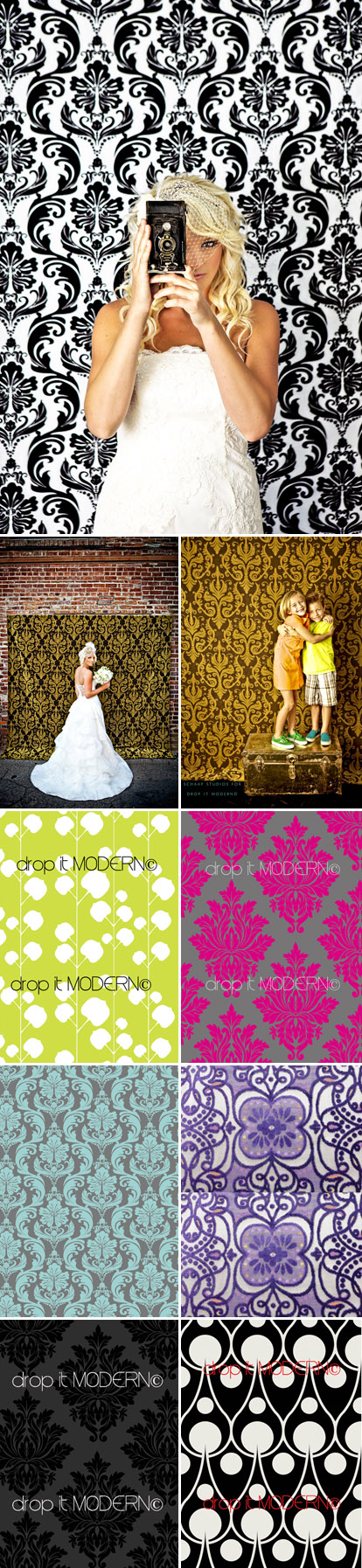Damask and graphic print fabric photo backdrops from Drop It Modern, all images from dropitmodern.com and Schaap Studios