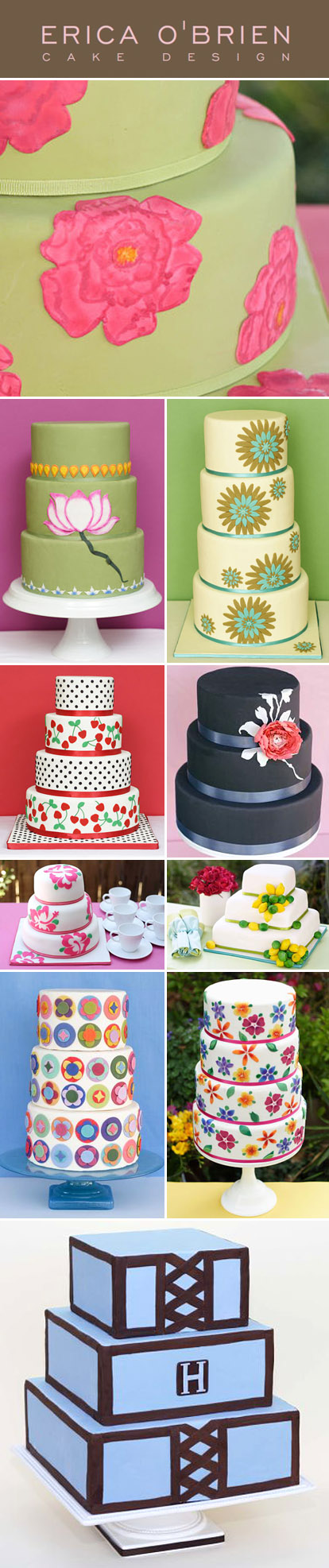 Colorful, whimsical wedding cakes from Erica O'Brien, Los Angeles wedding cake designer