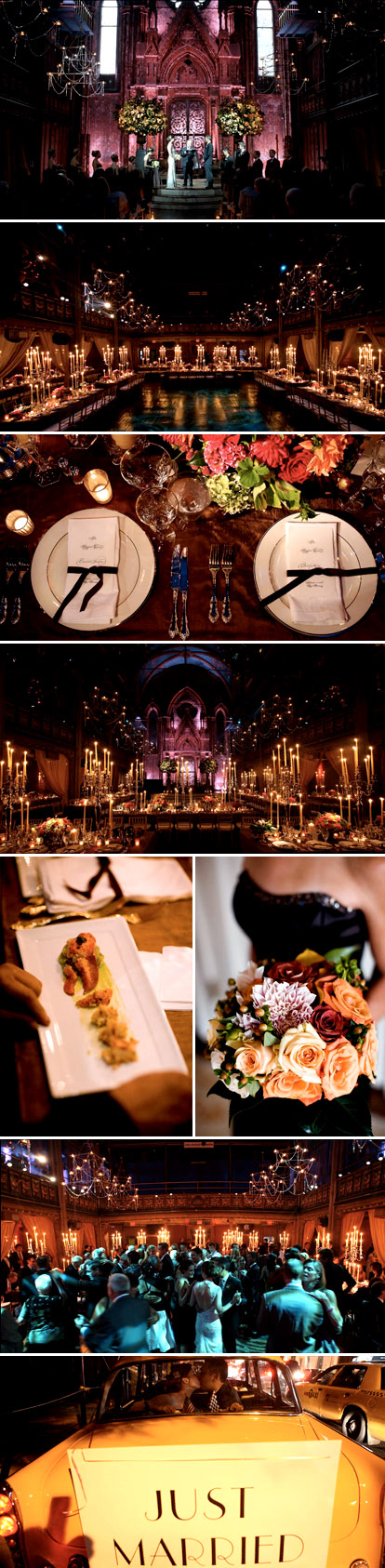 Bohemian glam real wedding downtown New York City in plum, purple, jewel tones and candle light, by Fete