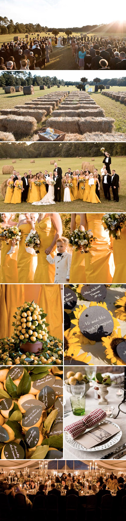 Sophisticated, elegant Southern real wedding in black, white, lemon yellow and green, by Fete