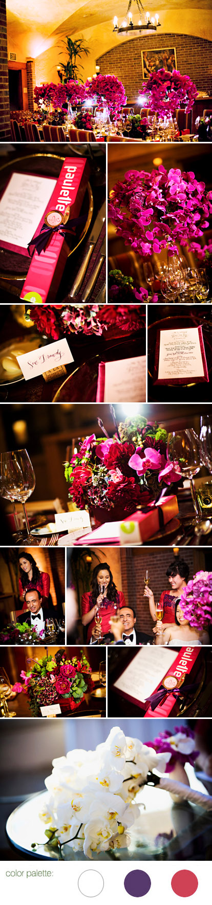 Eggplant, raspberry, plum, and gold wedding reception at Bacara Resort and Spa, Santa Barbara, California, images by Trista Lerit