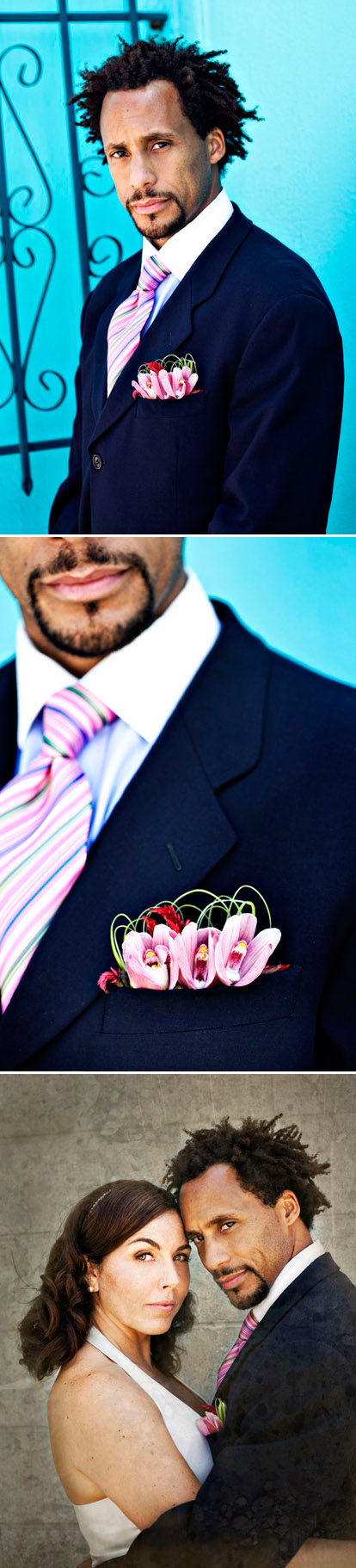 Men's wedding floral pocket square by Its A Blooming Business, groom's boutonniere alternative, photo by Joy Marie Photography