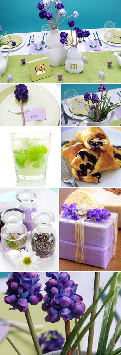 Lavender, lilac and lime bridal shower brunch from HWTM.com
