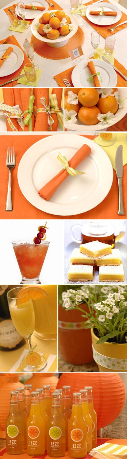 Bright orange citrus themed bridal shower from HWTM.com