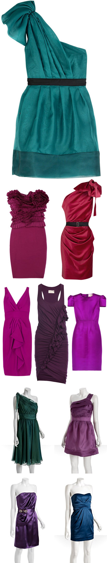 Jewel toned fall coctail and bridesmaids dresses, sapphire blue, emerald green, fuschia, plum, purple