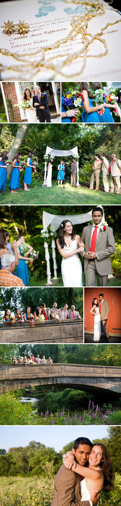 Summer backyard family wedding in Pennsylvania, red, teal and peacock blue wedding color palette, images by Jihan Abdalla
