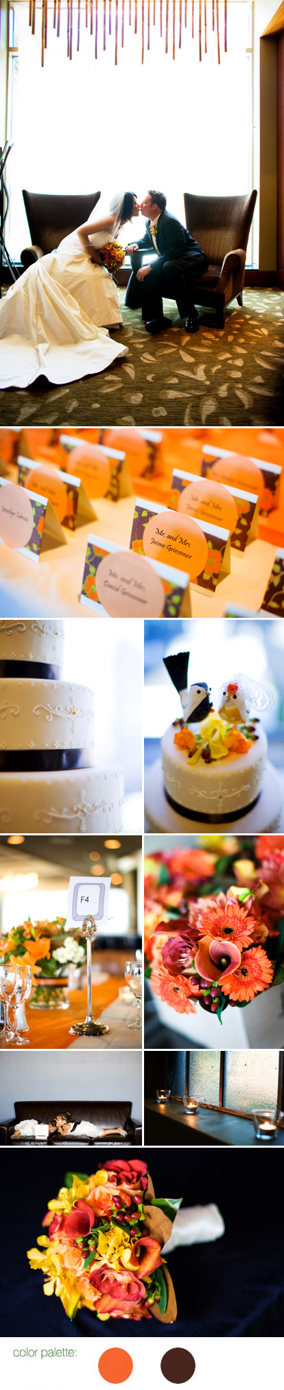 Orange and chocolate brown wedding color palette, Images by GH Kim Photography