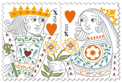 New USPS King and Queen of Hearts Love Stamps
