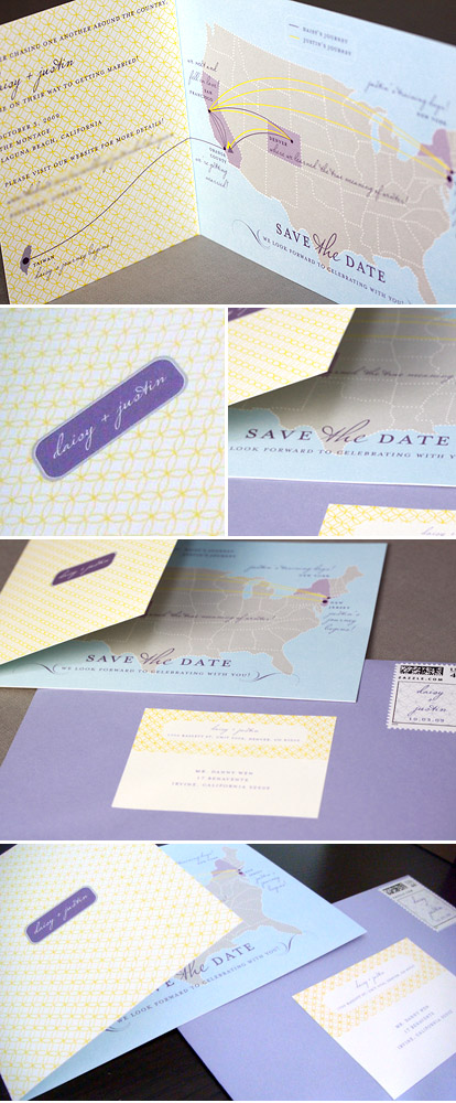 Creative travel wedding save the date by Minna Designs