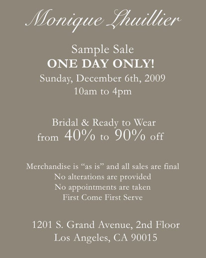 Monique Lhuillier Los Angeles wedding dress sample sale