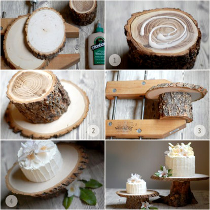DIY rustic wedding cake stand project from OnceWed.com