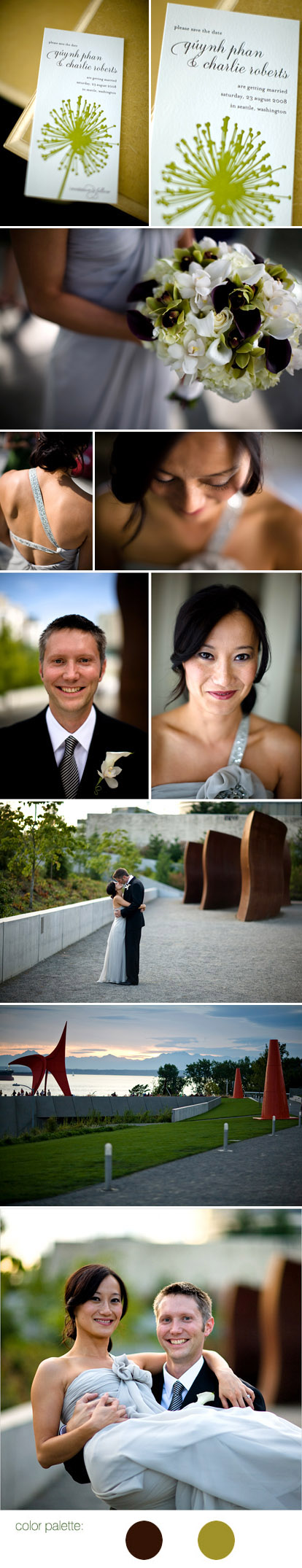 Bradley Hanson Photography, green and brown color palette, modern wedding at the Seattle Olympic Sculpture Park