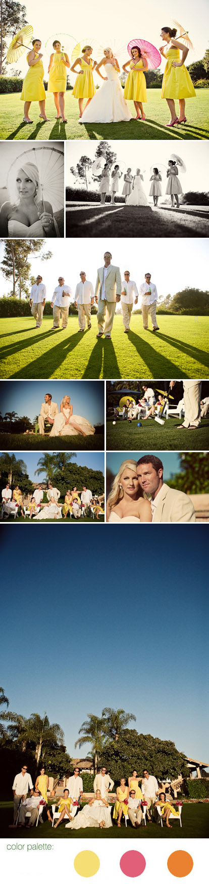San Diego wedding at Rancho Valencia Resort, wedding party with parasols, lime green, lemon yellow, orange and pink wedding color palette, images by Natalie Moser Photography