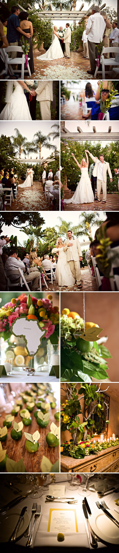 San Diego wedding at Rancho Valencia Resort, outdoor wedding ceremony, lime green, lemon yellow, orange and pink wedding flowers and decor, images by Natalie Moser Photography