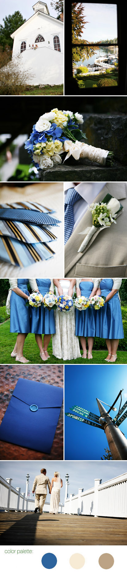 Casual Pacific Northwest San Juan Island wedding , blue, cream and khaki wedding colr palette, images by Riso Studio