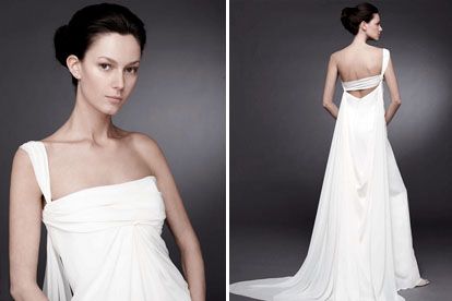 Asymmetrical neckline wedding dress from Peter Langner