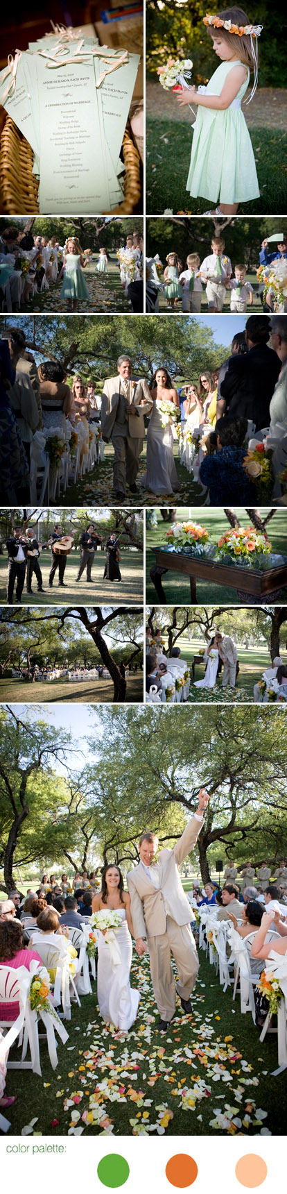 Tuscan, Arizona outdoor wedding ceremony with mariachi band, orange and green wedding color palette, images by Roberto Valenzuela Photography