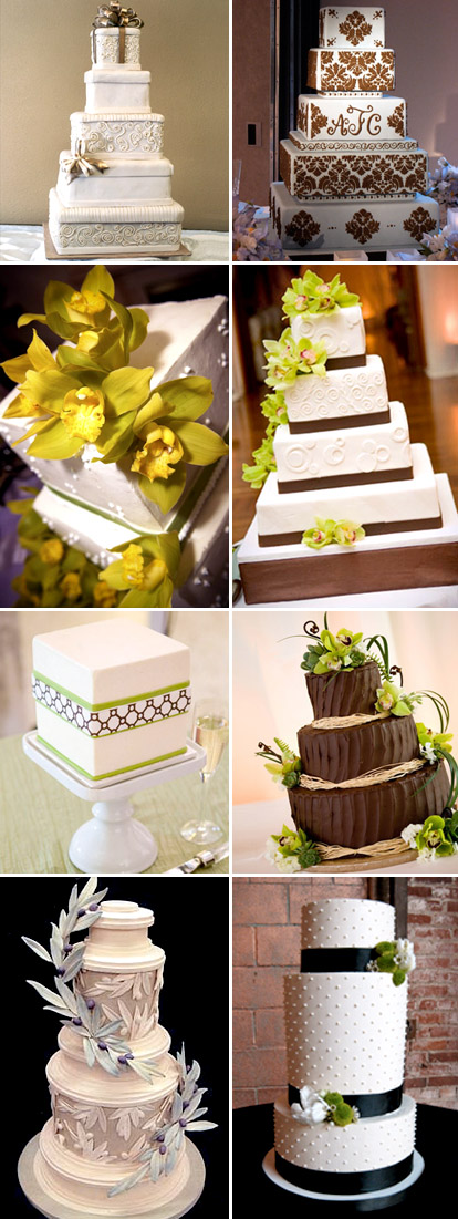 Chocolate brown and green fall wedding cakes