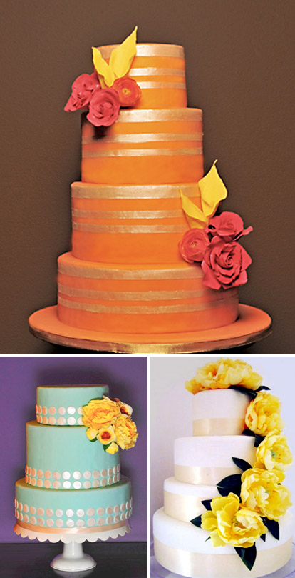 Orange, red, and yellow fall wedding cakes