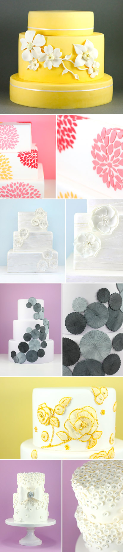 Beautiful, modern fondant wedding cakes, pretty floral cake designs from Eat Cake Be Merry
